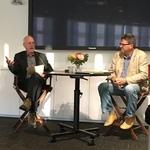 Professor of English Paul Harris, right, with artist Richard Turner, left