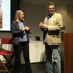 Poet Alyson Hallett, left, and Professor of English Paul Harris, right