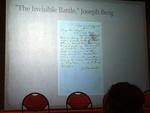Slide of Joseph Berg's artifact displayed at Undergraduate Research Symposium