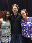 Dave Eggers with LMU Common Book Committee co-chairs La'Tonya Rease Miles and Jamie Hazlitt