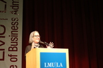 2016 LMU Common Book author Ruth Ozeki speaks to an audience of LMU students, staff, and faculty