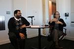 LMU faculty Brad Stone (left) speaks with Ruth Ozeki (right)