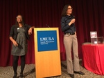 Nina Revoyr (left) speaks with La'Tonya Rease Miles (right) for a group of LMU students