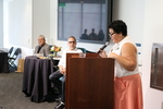 """Associate Professor and Chair of Chicana/o Studies, Eliza Rodriguez y Gibson introduces """"Conversation with Luis Rodríguez"""""""