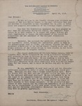 Anti-Saloon League of America Letter 1919